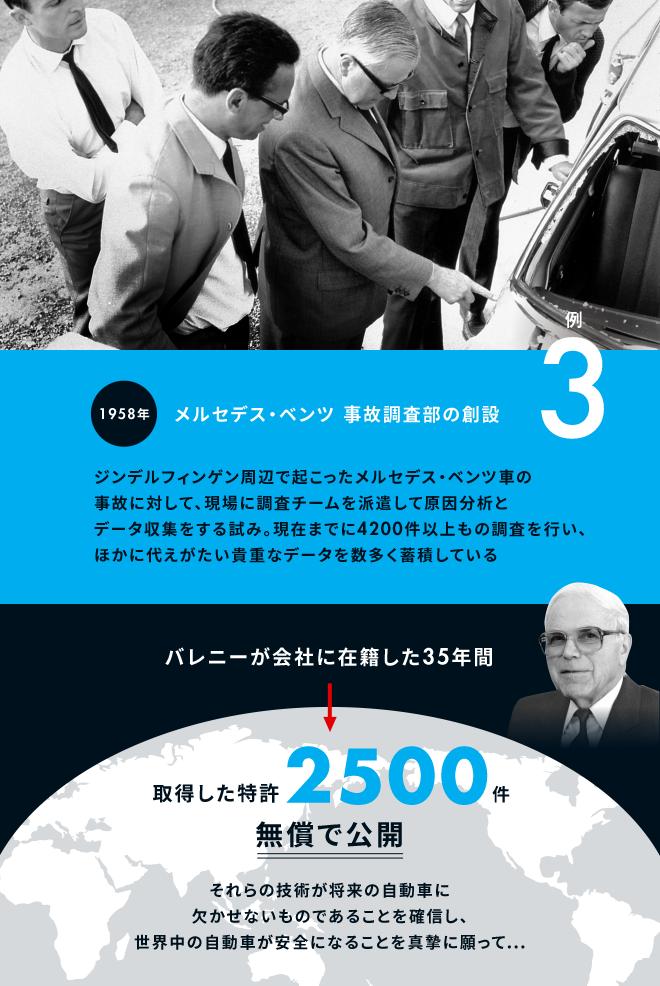 例3:1958年メルセデス・ベンツ 事故調査部の創設。ジンデルフィンゲン周辺で起こったメルセデス・ベンツ車の事故に対して、現場に調査チームを派遣して原因分析とデータ収集をする試み。現在までに4200件以上もの調査を行い、ほかに代えがたい貴重なデータを数多く蓄積している。バレニーが会社に在籍した35年間⇒取得した特許2500件無償で公開。それらの技術が将来の自動車に欠かせないものであることを確信し、世界中の自動車が安全になることを真摯に願って…