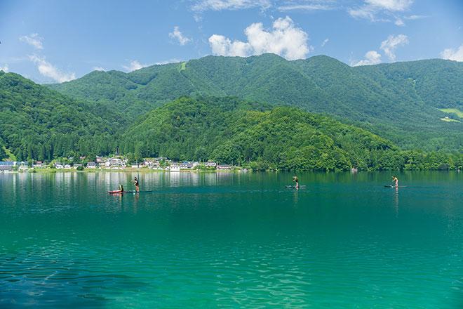 青木湖でのSUP
