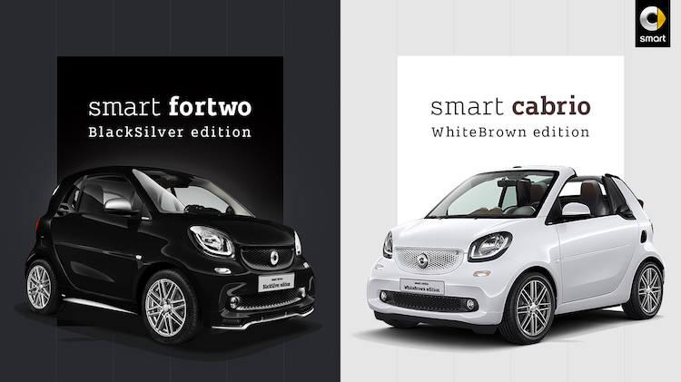 smart fortwo BlackSilver editionとsmart cabrio WhiteBrown edition